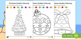 christmas doubles colouring activity sheets maths