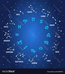 zodiac signs in blue sky royalty free vector image