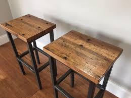 Metal Frame Dining Chairs Buy A Hand Crafted Reclaimed Oak Wood Bar Stools W Steel Frames
