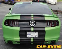 Satin Black Mustang Racing Skins Green Mustang U2013 Satin Black Racing Stripes