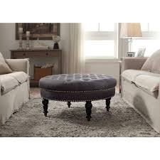 Charcoal Tufted Sofa by Linon Home Decor Isabelle Charcoal Accent Ottoman 420057cha01u