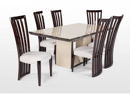 marble dining table and six walnut chairs set athena