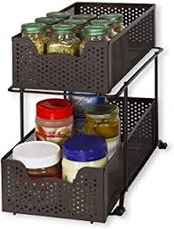 2 tier cabinet organizer amazon com seville classics 2 tier sliding basket kitchen cabinet
