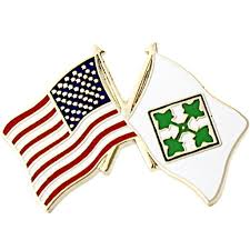 Pin Flags American And 4th Infantry Division Crossed Flags 1