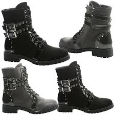 lace up biker boots ladies anaya womens flats low heels lace up buckle biker ankle boots