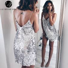 backless dress v neck silver sequin backless dress storesixty