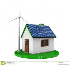 house with solar house with solar panels and wind turbine stock photo image 31871776