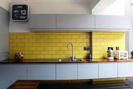 Kitchen Projects Ideas Photo Melissacon Matte Grey Yellow Tiles Recent Kitchen Projects