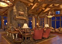 rustic log home traditional living room denver by 186