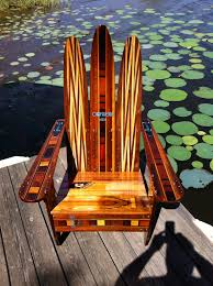 Colored Adirondack Chairs Adirondack Chair Made Of Vintage Wooden Water Skis Driftwood