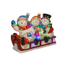 national tree company 29 in pre lit fiberglass snowmen u0026 sled