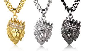 chain pendant necklace images Kings landing quot men 39 s 18k real gold plated crown lion pendant jpg