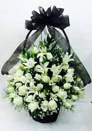 roses and lilies roses and lilies funeral flower basket