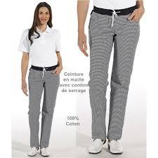 pantalon cuisine pantalon de cuisine femme ceinture en maille noir et blanc pepita
