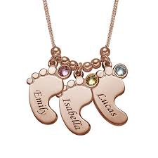 rose tone necklace images Rose gold tone baby feet engraved necklace with birthstones jpg