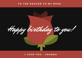 red black and green rose illustration boyfriend birthday card