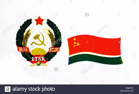 Flag Of Lithuania Picture The Flag Of The Lithuanian Soviet Socialist Republic And Emblem