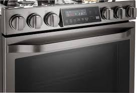 lg studio lssg3019bd 30 inch black stainless steel series slide in