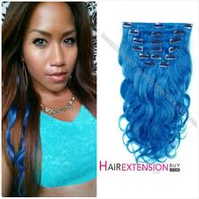 human hair extensions clip in 22 blue wave 11pcs set clip in human hair extension