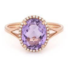 rose gold amethyst diamond ring gemstones
