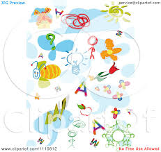 clipart of doodles and sketched people and items on blue and white
