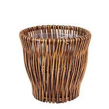 united solutions 10 qt plastic black designer waste basket wb8173