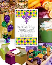 mardi gras party favors mardi gras harlequin and fluer de lis party invitations and ideas