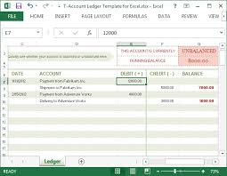 Journal Entry Template Excel T Account Ledger Template For Excel