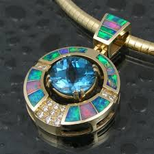 opal pendant necklace australia images Stunning australian opal pendant with a huge blue topaz in the jpg