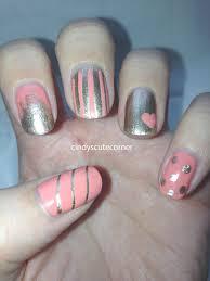 peach and gold nail design cindy u0027s cute corner