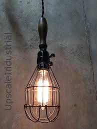 Farmhouse Island Lighting by Lighting Ceiling Light Vintage Farmhouse Wood Handle Caged Trouble