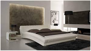 Tufted Leather Headboard White Curved Bed With Modern Padded Frame Also Leather Tables