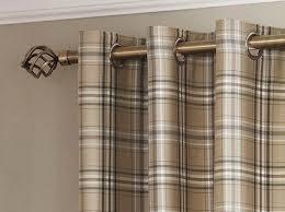 Eyelet Curtains 90 X 72 Tartan Check Lined Eyelet Curtains Ready Made Ring Top Brown