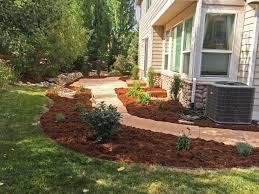 arizona buff flagstone patio with garden and drainage solution