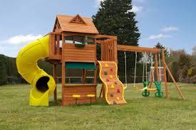 goldenridge climbing frame with slide swings and playhouse door