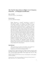 the need for innovation in higher chemistry education u2013 a