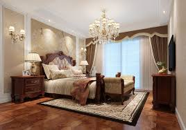 american style bedroom with a double bed wood interior design
