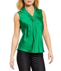 sleeveless tie neck blouse blouses womens tahari asl tie neck charmeuse blouse green