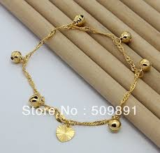 childrens gold jewelry ba1183 fashion 24 carat gold plated bead heart drops bracelet