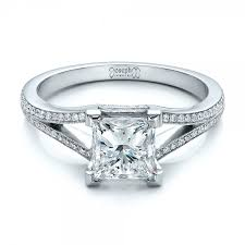 platinum princess cut engagement rings custom princess cut and split shank engagement ring 100807