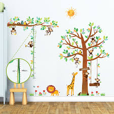 giant tree and animals wall stickers 8 little monkeys tree height chart wall stickers