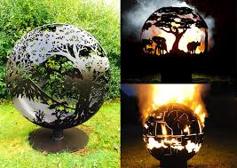 Metal Firepits Andy Gage Carves Intricate Designs On Spherical Metal Pits