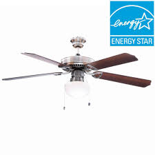 hampton tri mount 52 in indoor brushed nickel ceiling fan