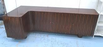 corner sideboard art deco style macassar wood with three