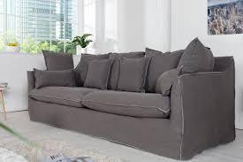 3er sofa grau großes hussensofa heaven 215cm washed grau baumwollstoff 3er