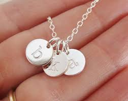 initials necklace silver silver initial necklace etsy