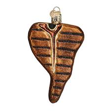world t bone steak glass blown ornament