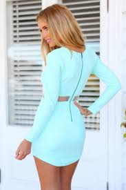 fashion women scoop long sleeves light blue bodycon mini dresses