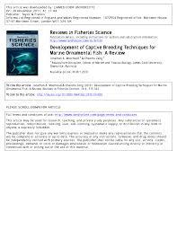 development of captive techniques for marine ornamental