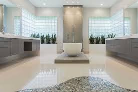modern master bathroom layouts with soaking tub rustic vanity